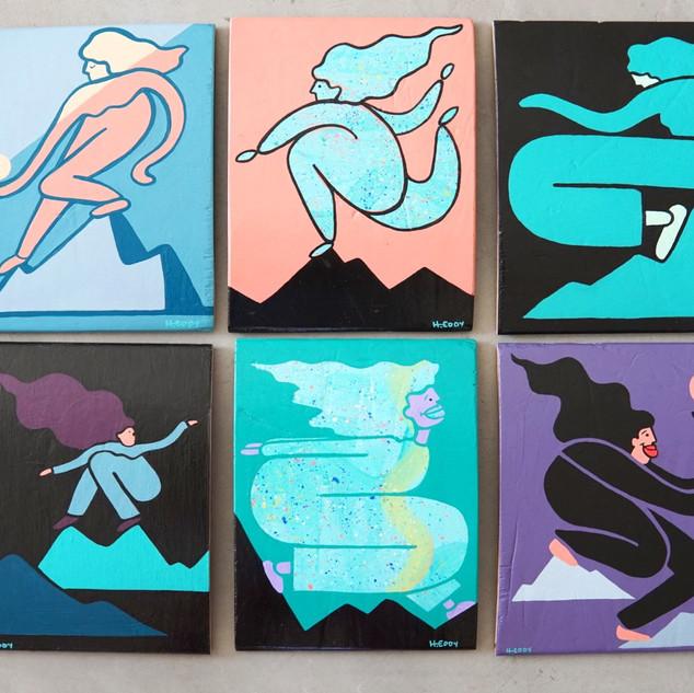 """Funky Females""  Acrylic on Skateboards"