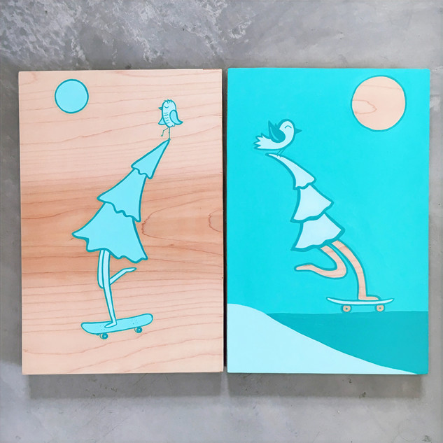 """Trees Skating"" Acrylic on wood 8""x12"""