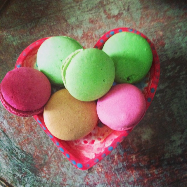 Copyright V.Luckie. Selection of non chilled Macarons from Waitrose.