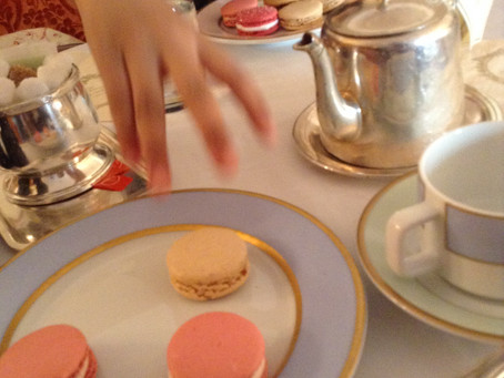 Macarons and long-awaited violet tea