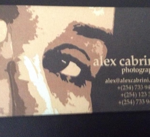 Kenyan business card for AlexCabrini Ltd with my face on it