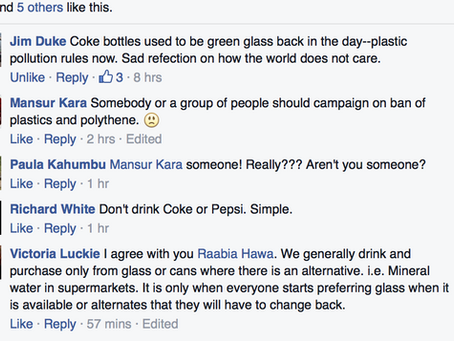 Me on the use of plastics comments are a screenshot from Kenyans4Wildlife in response to a video pur