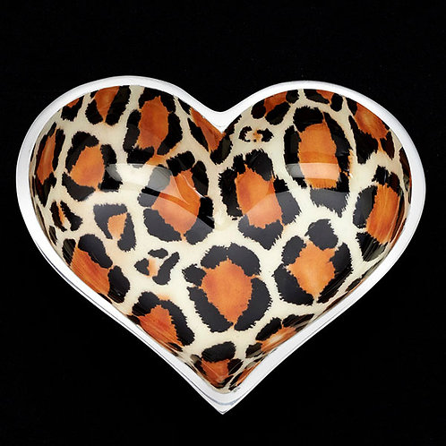 5 Inch Happy Heart Candy Dish - Leopard