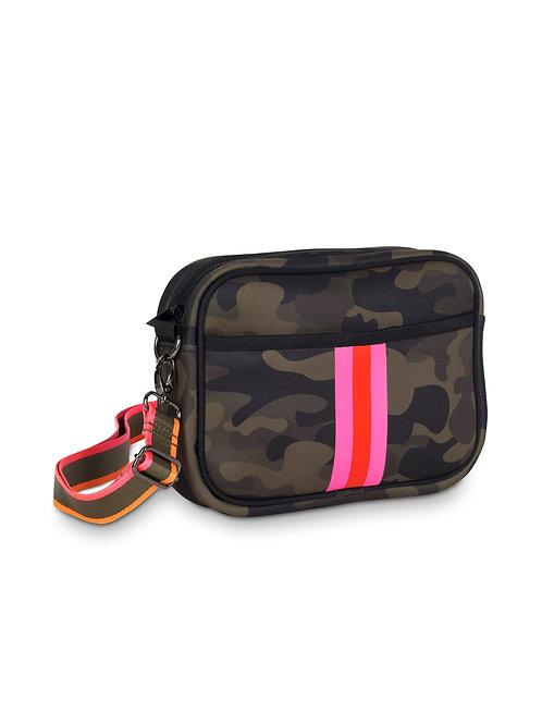 Drew Crossbody - Camo & Pink Stripe