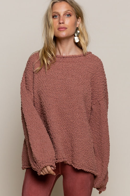 Dusty Rose Bubble Sleeve Sweater