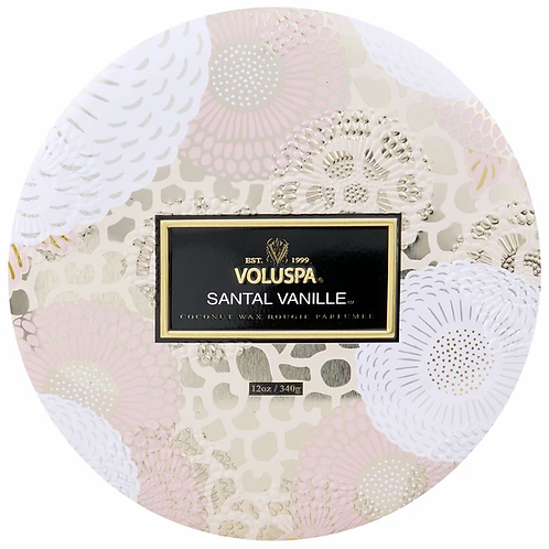 Voluspa 3 Wick Tin Candle - Santal Vanille