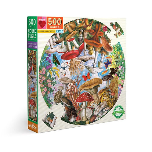 500 Pc. Round Puzzle - Mushrooms & Butterflies