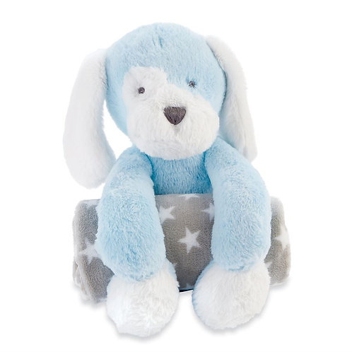Blue Puppy Plush With Blanket