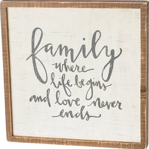 Box Sign 15 x 15 - Family Life Begins