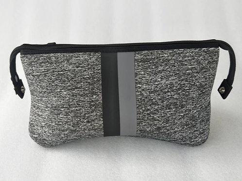 Kyle Cosmetic Bag - Charcoal W/ Black Stripe
