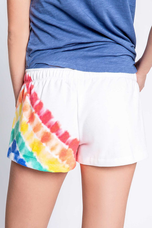 Tie Dye Banded Ivory Shorts (PJ Salvage)
