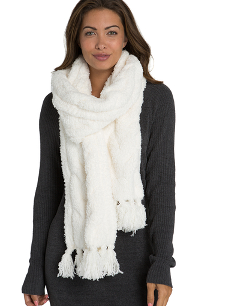 Barefoot Dreams CozyChic Cable Scarf - Pearl