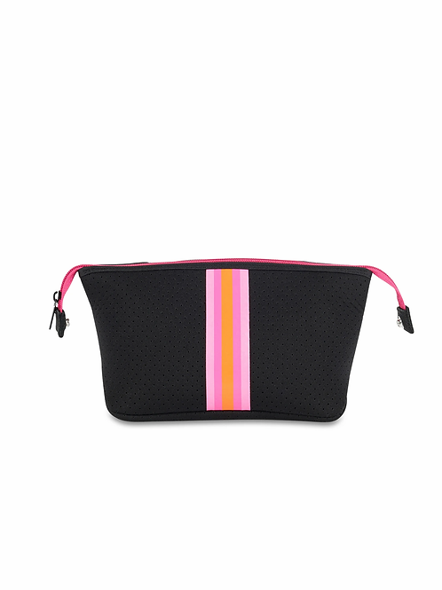 Erin Cosmetic Bag -Pink/Orange Stripe Haute Shore