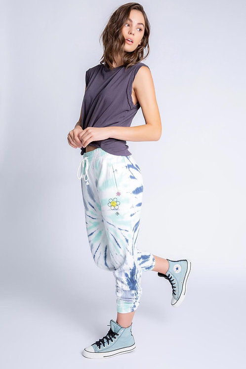 Embroidered Tie Dye Joggers Blue (PJ Salvage)