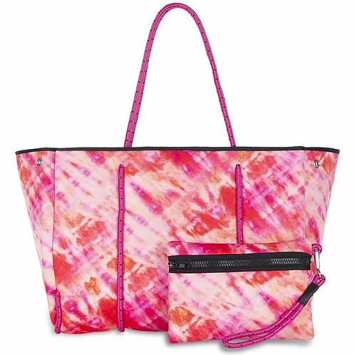 Greyson Tote - Pink Orange Tie Dye