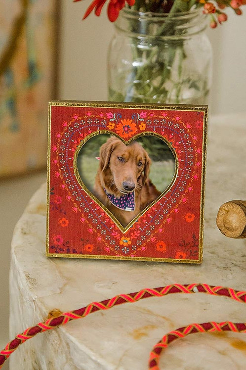 Red Floral Heart Photo Frame