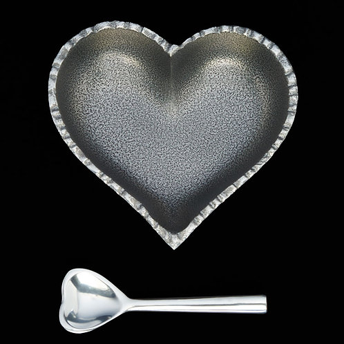 5 Inch Happy Heart Candy Dish - Jazzy Silver