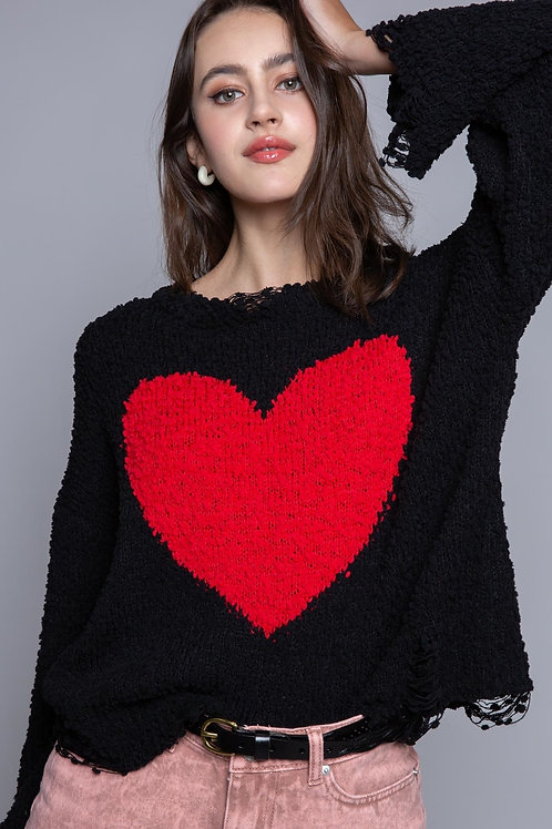 Distressed Red Heart Sweater