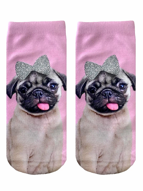 Pug Glitter Living Royal Ankle Socks