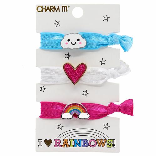 Charm It! Rainbow Elastic Bracelet/Hairtie Set
