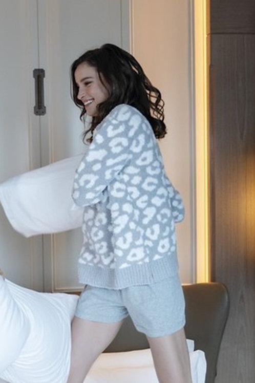 Cozy Grey Leopard Sweater