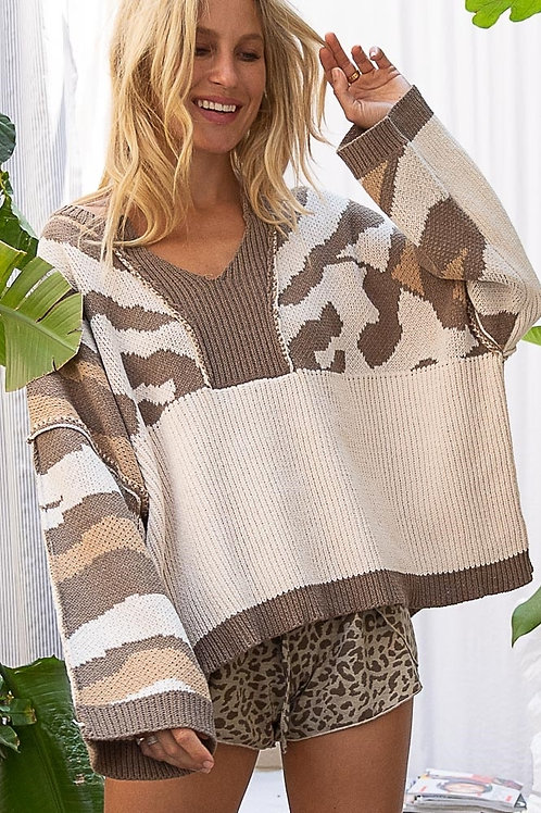 Camo & Beige Color Block Sweater