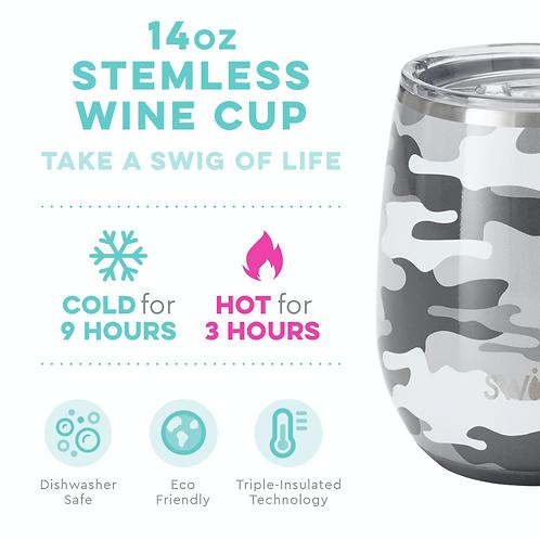 Swig 14 oz Stemless Wine - Camo