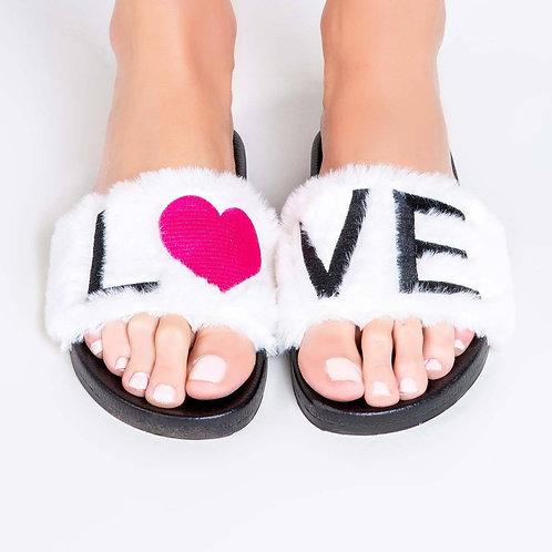Love Slipper Slides In White (PJ Salvage)