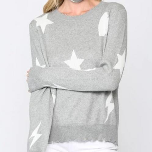 Grey Heart, Star, Lightning Sweater
