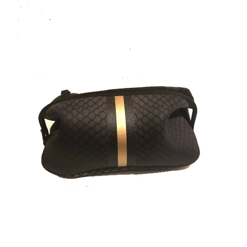 Kyle Cosmetic Bag - Black Croc W/ Gold Stripe