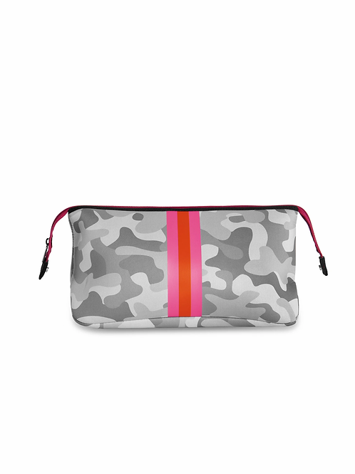 Kyle Cosmetic Bag - White Camo & Pink Stripe Haute Shore