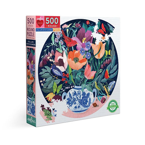 500 Pc. Round Puzzle - Still Life With Flowers