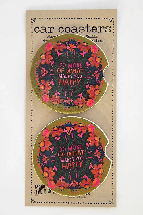 Natural Life Car Coasters- What Makes You Happy