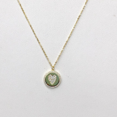 Gold Heart Coin Necklace