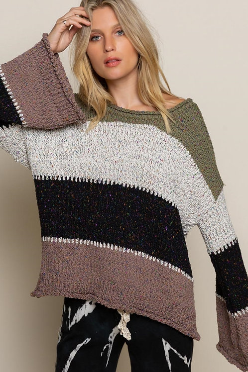 Bold Stripe Bell Sleeve Sweater