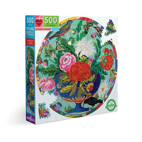 500 Pc. Round Puzzle - Bouquet & Birds