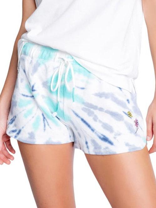 Flower Tie Dye Shorts Blue (PJ Salvage)