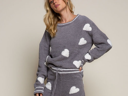 Cozy Grey & White Heart Sweater