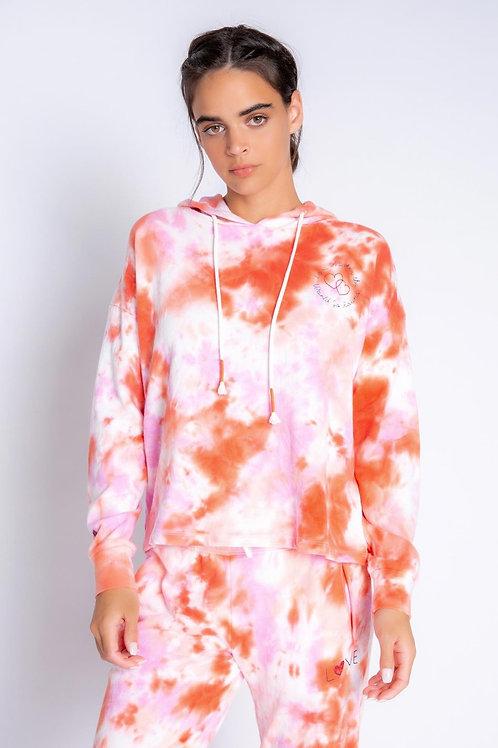 Love Makes Tie Dye Hoodie Pink/Orange (PJ Salvage)