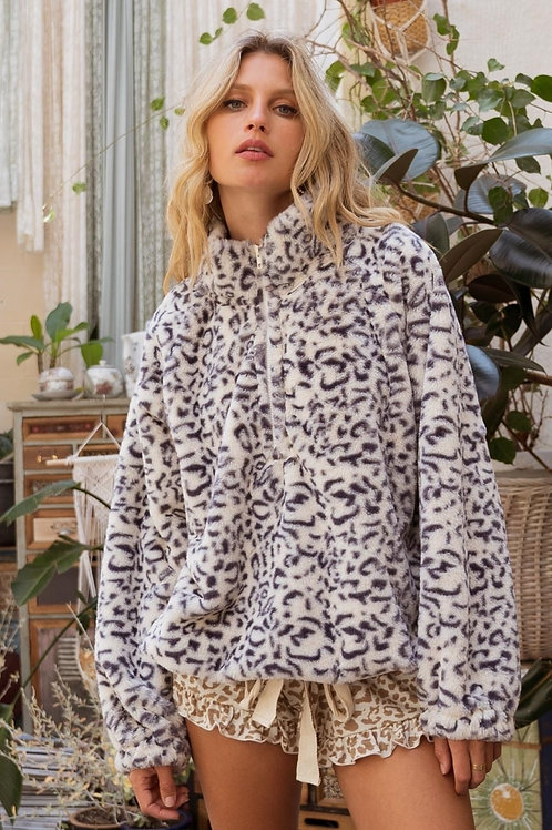 Fuzzy Leopard Pullover Sweater