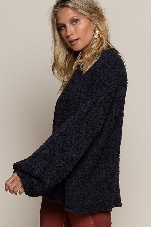 Charcoal Grey Bubble Sleeve Sweater