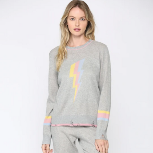 Pastel Lightning Bolt Distressed Sweater
