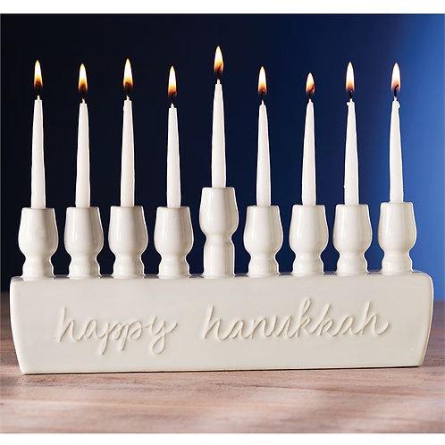 "Ceramic ""Happy Hanukkah"" Menorah"