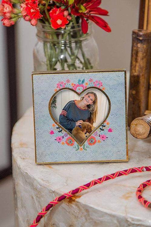 Blue Floral Heart Photo Frame