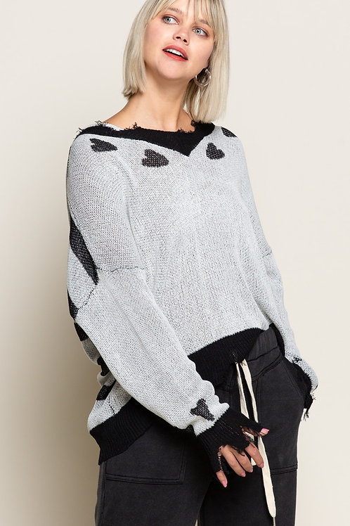 Lightweight Distressed Heart Sweater