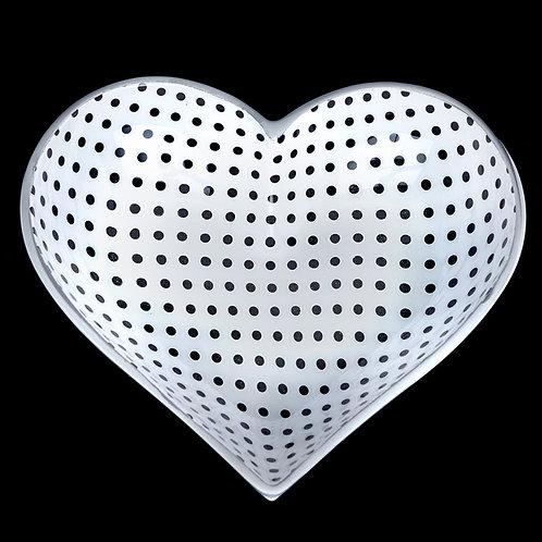 5 Inch Happy Heart Candy Dish - White W/ Polka Dot