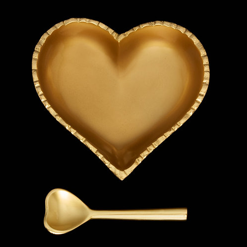5 Inch Happy Heart Candy Dish - Jazzy Gold