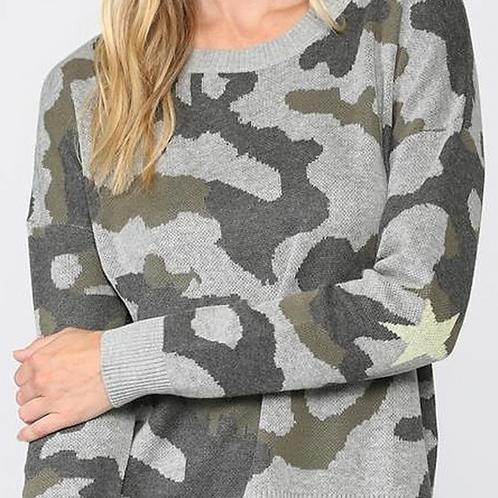 Camo & Star Sweater