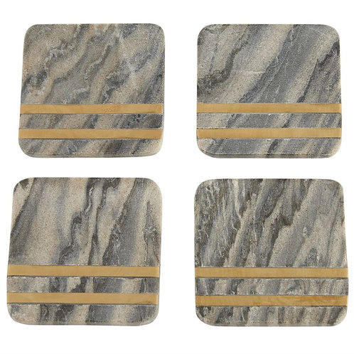 Grey and Gold Slate Coasters