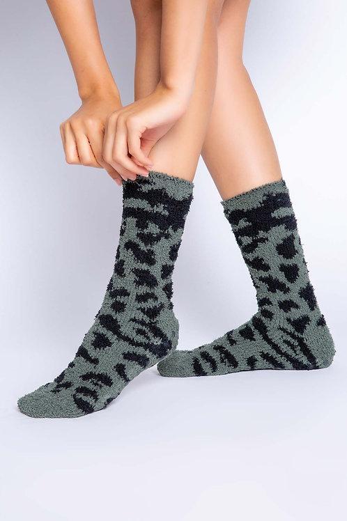 Olive Leopard Socks (PJ Salvage)